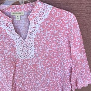 Appleseed pink and white lace collar cotton tunic